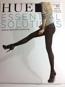 HUE Essential Solutions Opaque Tights w/CT Size 1 Black Style 6244N