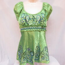 Heart Soul Light Green Embroidery Shirt Size L