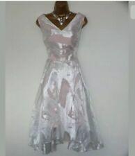BNWT Coast Silver/Light Pink Jacquard Occasion Dress size 16 / 18