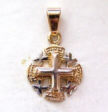 Jerusalem Templar Cross pilgrim Pendant Red Gold 585 solid #a099