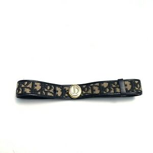 Christian Dior Trotter Canvas Leather Belt Logo Vintage Navy Authentic Size 60