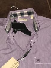 NWT Burberry Brit Men purple  Shirt Small S  Slim Fit