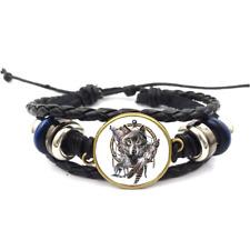 Dreamcatcher Wolves Glass Cabochon Bracelet Braided Leather Strap Bracelets