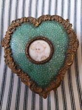 A Fantastic Antique Gilt Shagreen Heart Shaped Pill Patch Box Portrait Miniature