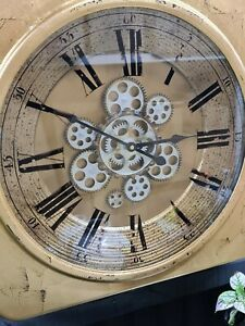 Large Golden Square Gear Wall Clock.
