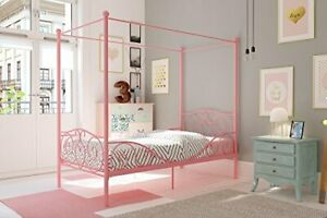 Metal Canopy Bed with Sturdy Bed Frame - Size () Twin Pink