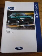 FORD FIESTA RS1800, ESCORT RS 2000 & ESCORT RS COSWORTH SALES BROCHURE 1993 ED.2