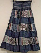 NWT Sacred Threads Cotton Denim Tiers  Embroidery Gypsy Bohemian Skirt Dress SM