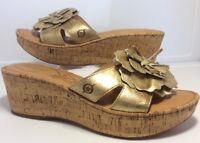 "BOC Born Concept Women's Cork 2.5"" Wedge Heels Leather Flower Sandals Size 10"
