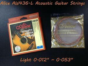 "Alice AW436-L Premium String Set for Acoustic Guitar .012""~.053"", Super Light"