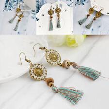 Retro Bohemian Boho Resin Flower Carved Round&feather Tassel Hook Earrings