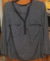 Zara Basic Polka Dot Navy Blue White Print Button Down Blouse Shirt Top Sz XS