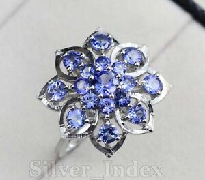 Solid 925 Sterling Silver Tanzanite Natural Gemstone Engagement Ring For Women