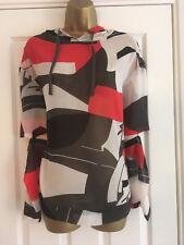 NEXT Ladies Grey Red White Chiffon Hooded Blouse Split Sleeves Size 12