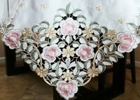 """Square 72x72"""" Embroidered Pink Rose Cutwork Tablecloth Napkins Dining Table"""