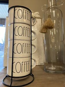 "Rae Dunn NEW ""COFFEE"" Mugs Stackable Set With Stand LL Font Ivory Inside & Out"