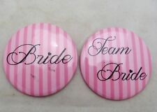 Team Bride Pins Buttons Wedding Bachelorette Bridal Shower Party Favors Set of 2