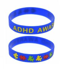 X2 Blue ADHD Awareness Silicone Wristband Medical Alert Bracelet ADHD UK