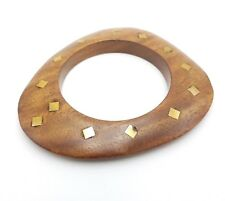 Vintage Chunky Wood Bracelet Bangle Gold Brass Inlay Brown Reuleaux Triangle