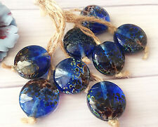 Handmade Lampwork Glass Beads From Murano Glass Electric Blue Color Round 8 Pcs