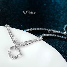 18k white gold filled clear crystal V shape pendant necklace fashion