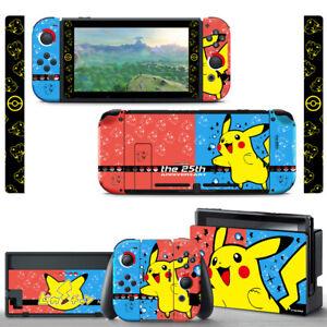 Pokemon Pikachu Spark Red Blue SKIN Screen Protector for Nintendo Switch Joy-Con