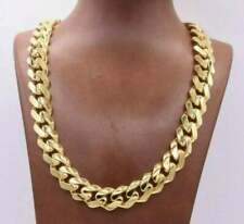 """13mm Miami Cuban Royal Link Chain Necklace 20"""" CZ Box Clasp 10K Yellow Gold Over"""