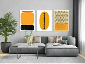 Yellow Red Black Abstraction, Artistic Set of 3 Wall Prints, Modern Abstract Sum