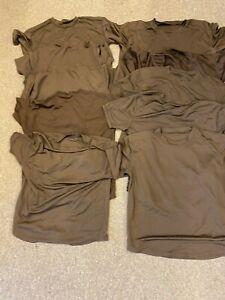 Job lot of 10 British army surplus brown self wicking T tee shirts
