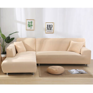 1/2/3Seater L Shape Sofa Couch Cover Stretch Sectional Corner Sofa Slipcovers UK