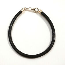 4mm Thick Black Genuine Leather Cord ANKLET with Real 925 Sterling Silver Clasp