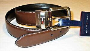 Men's 32 TOMMY HILFIGER Premium BROWN / BLACK Reversible LEATHER BELT 11TL08X014
