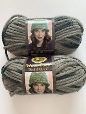 2 Lion Brand Wool-Ease Thick & Quick 6 Super Bulky 519 Raven Washable Yarns