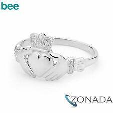 New White Gold Irish Claddagh - Diamond Set Claddagh Ring 9ct 9k White Gold Ring