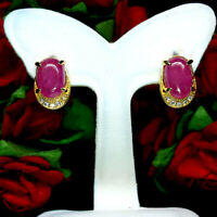 NATURAL 6 X 9 mm. OVAL CABOCHON PINK RED RUBY & WHITE CZ EARRINGS 925 SILVER