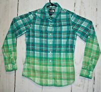 The North Face Gradient Green Womens Size Small Flannel Plaid Shirt Button Up
