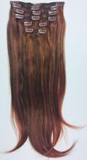 """Full Head Clip In Human Hair Extensions 100% Thick Remy 18"""" 8pc 133/33 BRN/RED"""