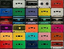 50 COLORED Audio Cassette Tapes w/case BLANK Choose 2 colors/times 41-64 minutes