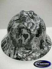 White High Stakes Pattern Full Brim New Custom MSA V-Gard Hard Hat W/FasTrac