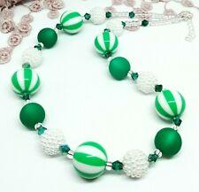 Kette smaragd grün weiß gestreifte grosse Perlen Polaris Glanz  leicht  50 cm
