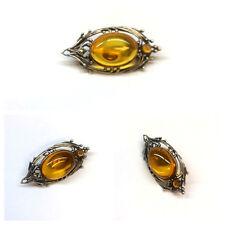 Beautiful Brooch 925 Sterling Silver Amber Bernsteinbrosche Stone Jewelry
