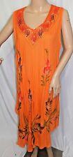 Just Love Women Plus Size 3x Orange Green Red Tie Dye Sequin Gypsy Batik Dress