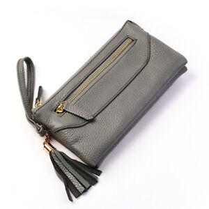 ZETA Women Clutch Wallet Wristlet Purse Pouch Cowhide Genuine Leather Grey