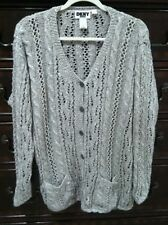 DKNY JEANS GRAY CROCHET KNITTED CARDIGAN SWEATER sz S