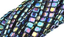 50 Blue Iris 2 Hole Czech Glass Flat Square Beads 6MM