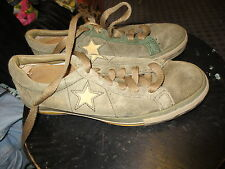 Converse One Star brown suede sneaker shoes sz mens 5 womens yellow stripe