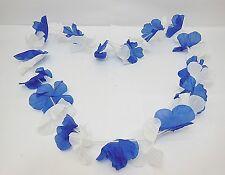 10 Blue&White Hawaiian Dress Party Flower Leis/Lei 6.5cm