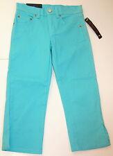 GIRLS Size 6 Missy BILL BASS Aqua Stretch Denim Cropped Capri Jeans 26x20