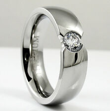 Titanium Fashion Highly Polished Ring with 5mm Round Cz, size 12 - in Gift Box
