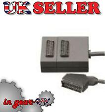 TV television 2 way scart adapter splitter double plug coax coaxial cable